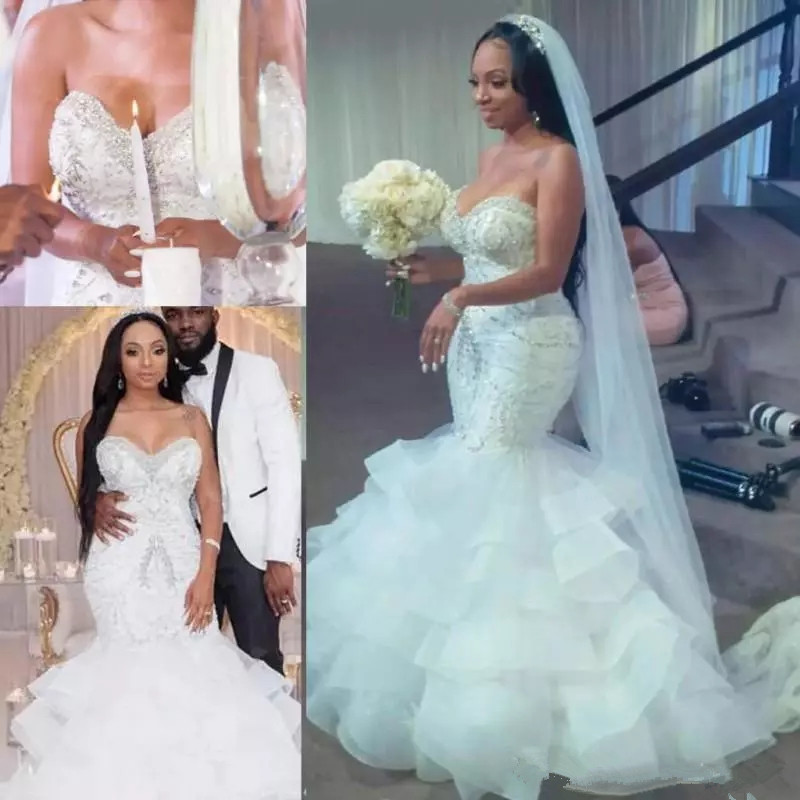 African Wedding Gown: Luxury Crystal Beaded South African Mermaid Wedding