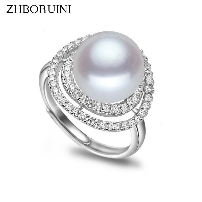 ZHBORUINI Parel sieraden van zilver dubbeldeks Pearl Ring natuurlijke - Fijne sieraden