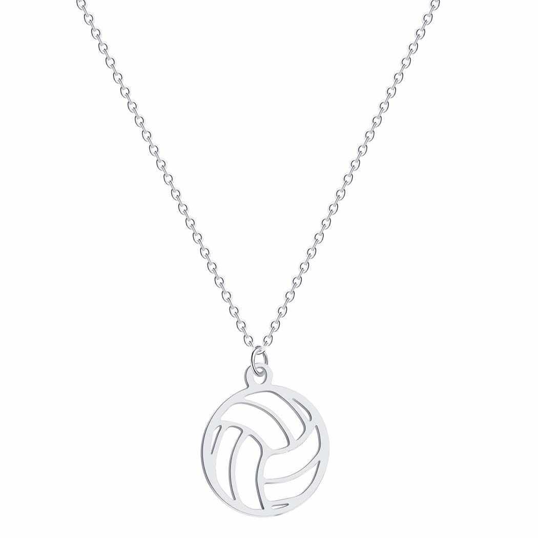 Collar de voleibol plateado con colgante de bola para hombre y mujer, joyería deportiva, regalos, pelota de Volley, deportes, entrenador, collar, mejor regalo