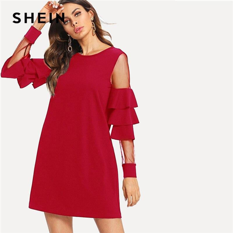 Шеин Бургундия контрастная сетчатая вставка многоуровневый рукавом колокол рюшами платье для женщин осень современная леди вечерние