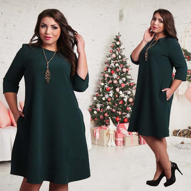 Big size 6XL 2018 Summer Dress Casual women Loose solid patchwork dresses  plus size women clothing 14859dc7ed37