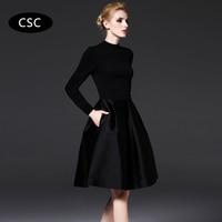 Autumn Long Sleeve Party Dress Women Little Black Dress Elegant Vintage Vestidos Office Lady Business Dress