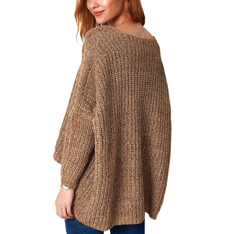 Для женщин мода зимний свитер Пуловеры Krean Стиль с длинным рукавом Повседневное укороченный топ Негабаритных коренастый пуловер с напуском трикотажный топ пальто