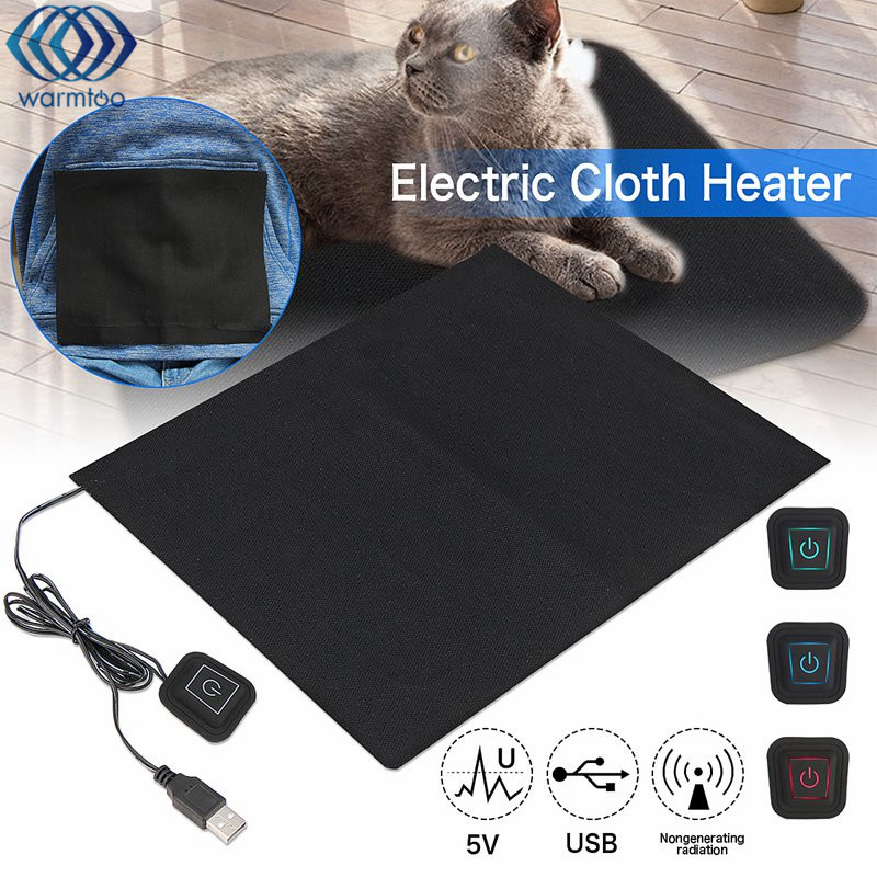 5V USB Electric Clothes Heater Sheet Adjustable Temperature Pet Heating Pad Winter Heated Gloves For Cloth Waist Warmer Tablet