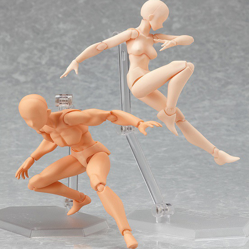 Anime Action Figure Toys Artist Movable Limbs Male Female 13cm joint body Model Mannequin Art Sketch Draw kawaii Action Figures mif анальная пробка серебристая с прозрачным кристаллом в форме сердца