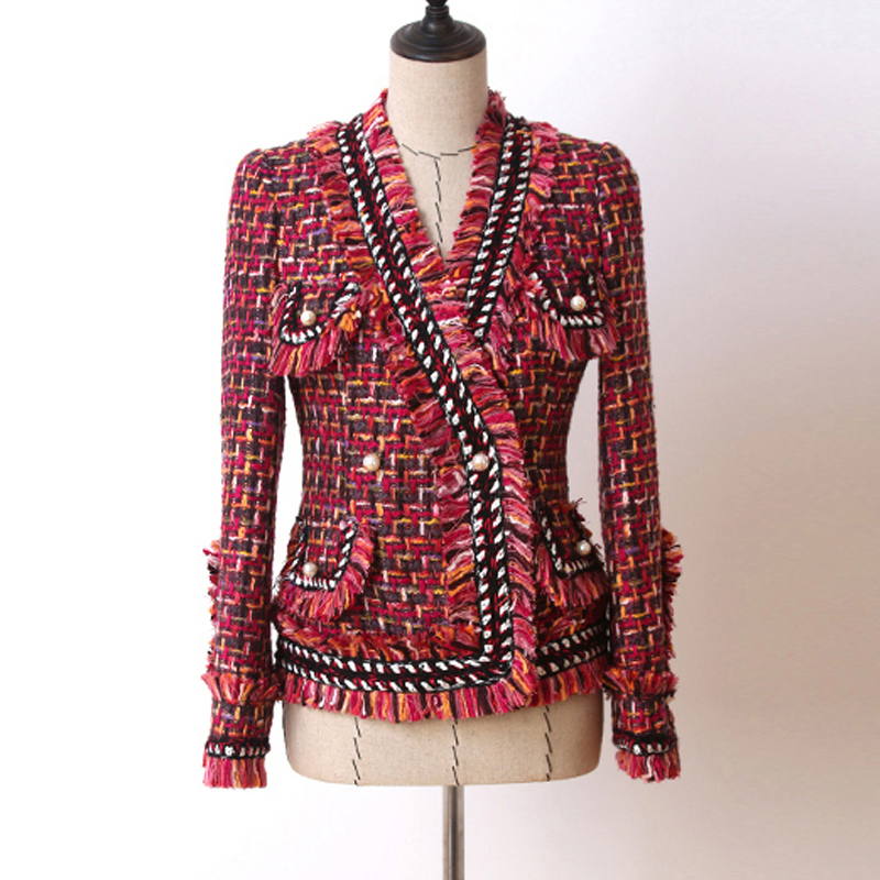 Red tweed jacket Double breasted border beaded Autumn winter women s jacket coat new socialite Slim