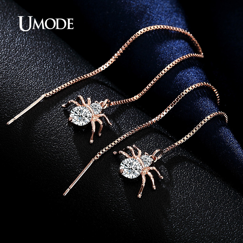 UMODE Spider Berbentuk Drop Earrings Rose Gold Warna Putaran Cut AAA CZ Anting Panjang Untuk Wanita Fashion Jewelry Hadiah Ibu AUE0175