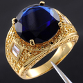 Handmade Big Round Blue Created Sapphire Clear CZ Yellow Gold Filled Vintage Ring for Men Middle East Size 9-13