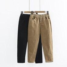 Купить с кэшбэком 2018 spring and summer new loose waist casual pants women's, solid color was thin corduroy nine pants, waist casual harem pants