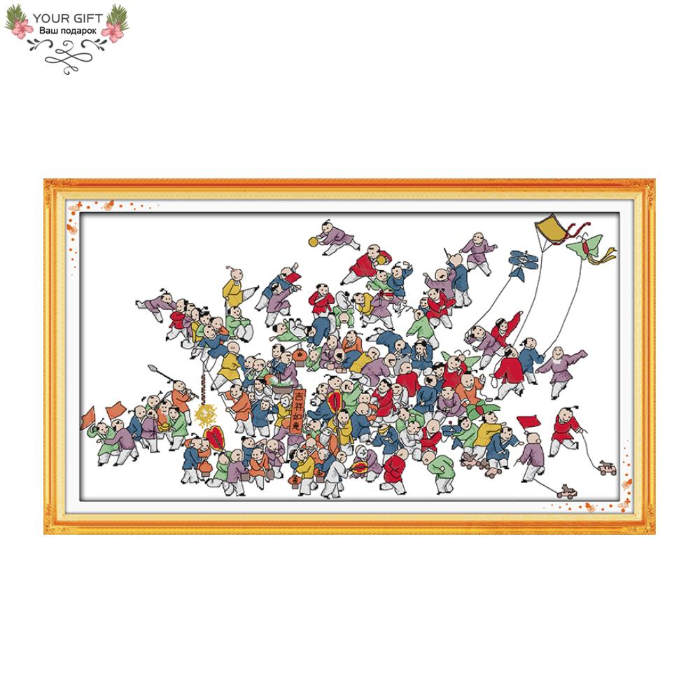Joy Sunday R482 14CT 11CT Counted and Stamped Home Decoration Hundred Playing Children Embroidery Cross Stitch kits image
