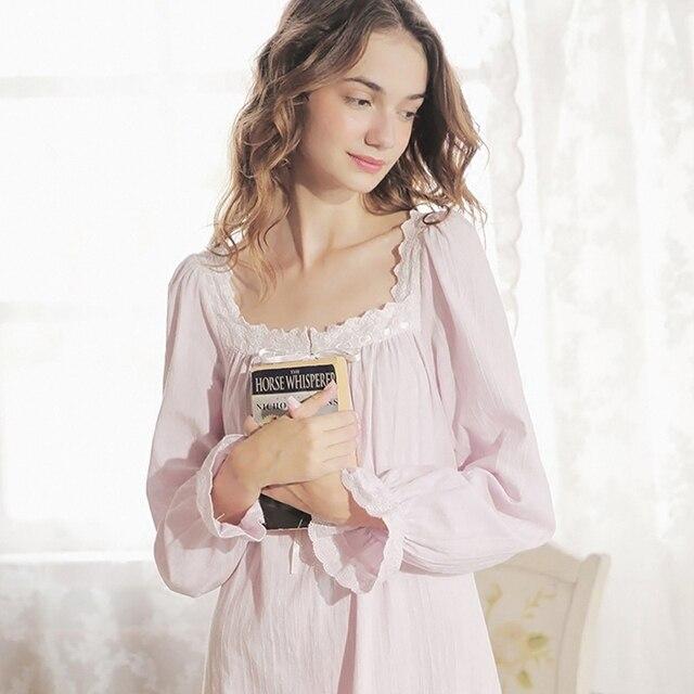 Free Shipping Pure Cotton Nightgown Women Autumn Long-Sleeved Vintage Princess Long Pijama Female Lace roupao feminino S16046