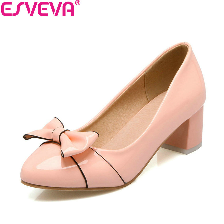 ESVEVA 2018 Round Toe Slip on Woman Pumps Butterfly-knot Ladies Summer Shoes Women Square High Heel Pumps Elegant Size 34-43 female s lace up bow knot women glitter rivets rome sandal on platform plus size 42 43 round toe girls summer shoes flip flops