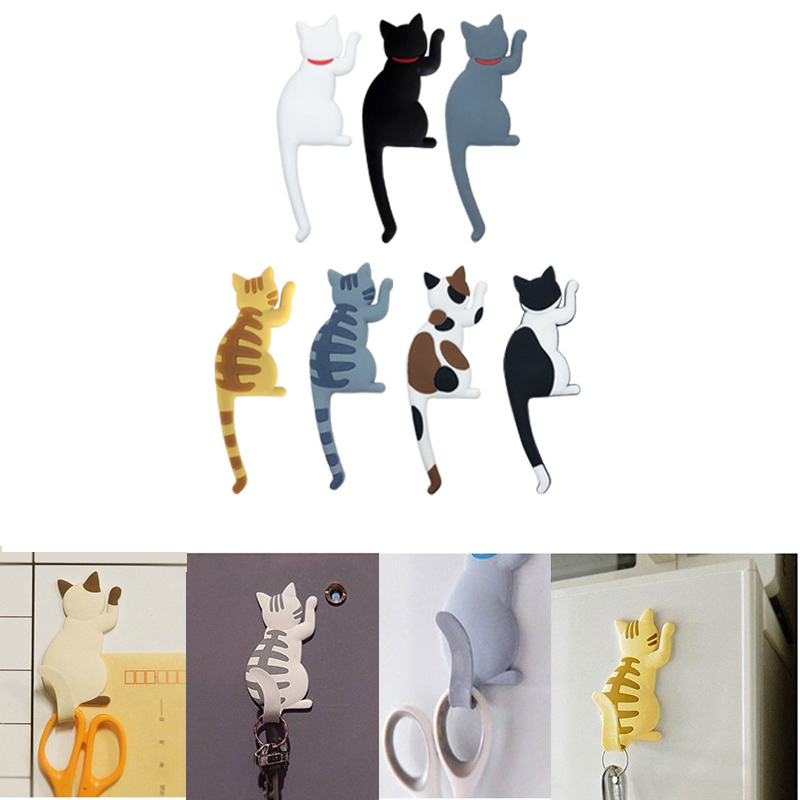 Nordic Creative Lovely Cartoon Cat Animal Fridge Magnet Hooks Key Holder Wall Home Decor Refrigerator Sticker Hanging Hook