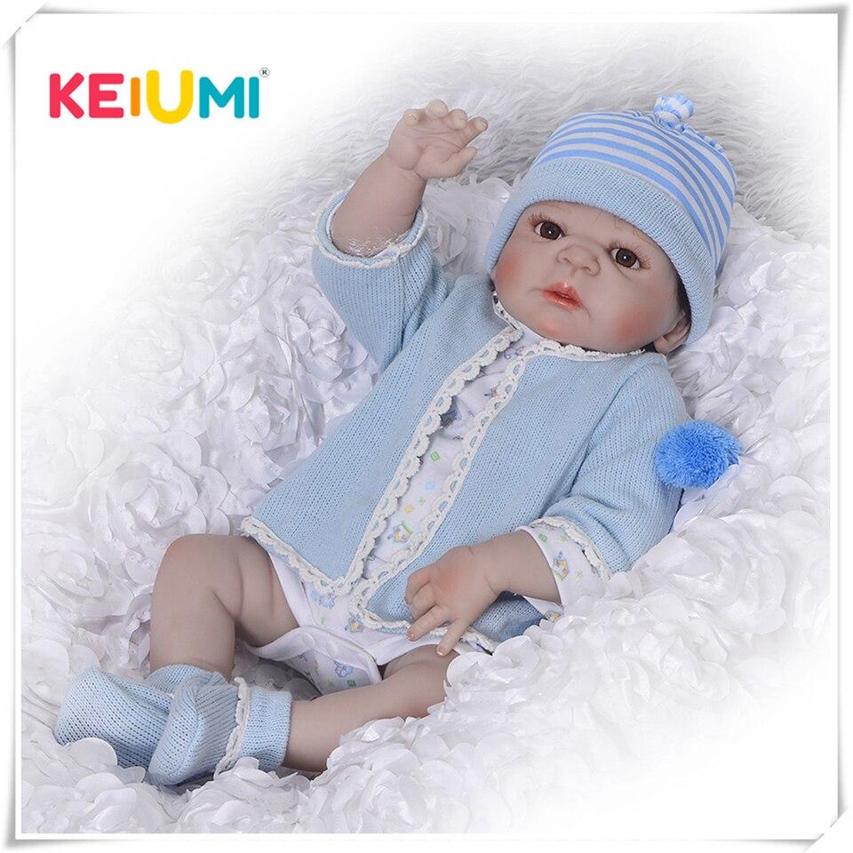 Silikon Volle Körper Reborn Puppen 23 ''Realistische Handgemachte Baby Puppen Junge Mode Kinder Spielzeug Wasserdichte Boneca Modell Geburtstag Geschenke