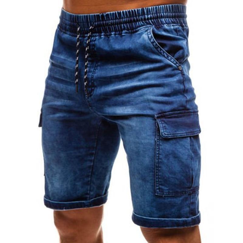 Jeans Shorts Biker-Bermuda Pocket Elasticity Men's Summer Casual Fashion Denim Brand