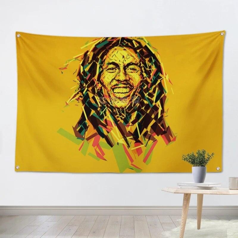 Accurato Bob Marley Reggae Pop Rock Band Poster Grande A Quattro Fori Appeso Bandiere Di Stoffa Personalità Striscioni Music Studio Bar Cafe Decorazioni Per La Casa