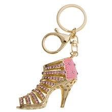 New Style Chic High Heel Crystal Rhinestone Keychains Shoe Keyring charm Women Handbag key holder Girl