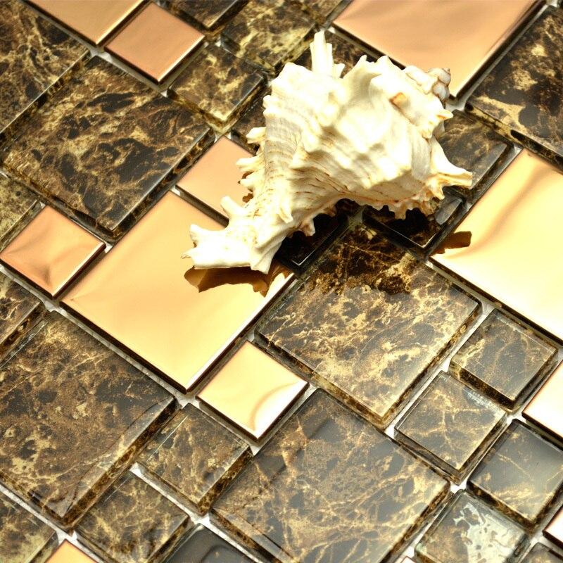 Brown Glass Mixed Stainless Steel Metal Tiles For Wall Tiles Kitchen Backsplash Tiles Bathroom