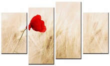 4 Pcs/Set Modern Flower Wall Picture Realistic A red flower garden Painting Print on Canvas Art for Home decor/XJ-12Y-36