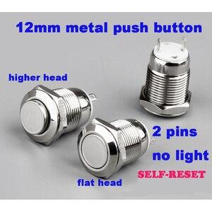 12mm 2pin Metal düğme anahtarı paneli delik anlık güç Push Button düz yuvarlak kafa hiçbir ışık kendinden sıfırlama su geçirmez anahtarı