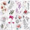 Lotus Peony Rose Flowers Waterproof Temporary Tattoo Sticker  Minimalist Flash Tattoos Body Art Fake Arm tatoo Women