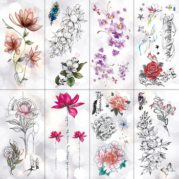 Lotus Peony Rose Flowers Waterproof Temporary Tattoo Sticker  Minimalist Flash Tattoos Body Art Fake Arm tatoo Women