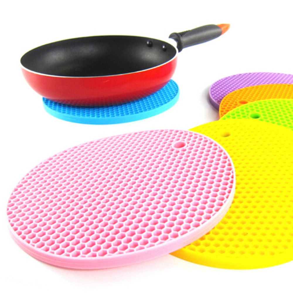 157*157 Cm Can Be Hung Durable Silicone Round Nonslip Heat Resistant Mat  Tableware Coaster Cushion 5 Colors Silicone Placemat