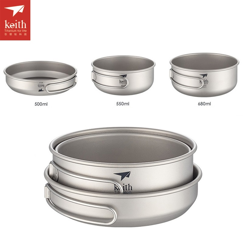 Keith 3pcs Titanium Frying-pan Camping Portable Pot Set Two bowls With Pan Outdoor Folding Handle Cookware Ti6053 keith 3pcs titanium pans bowls set with folding handle cook sets titanium pot set camping hiking picnic cookware utensils ti6053