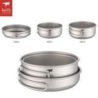 Keith 3pcs Titanium Frying pan Camping Portable Pot Set Two bowls With Pan Outdoor Folding Handle Cookware Ti6053
