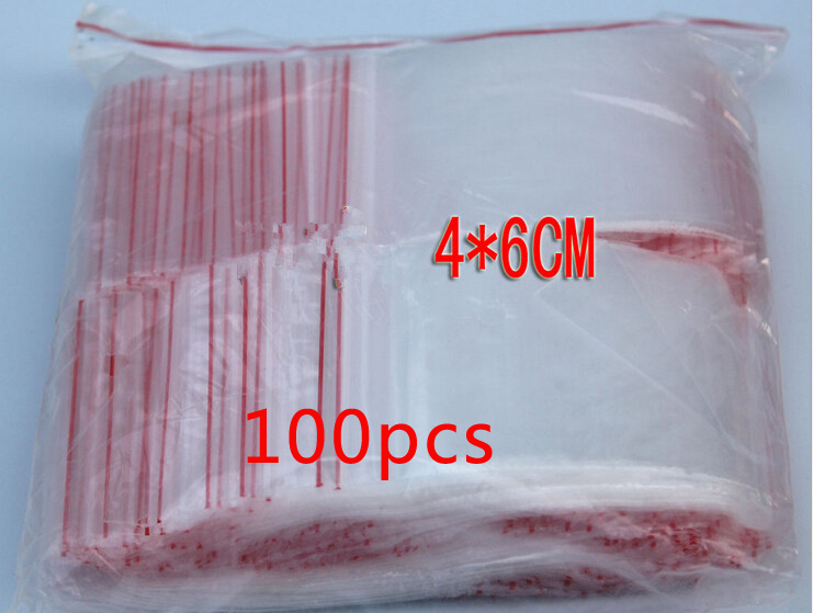 100PCS 4x6cm Pe Transparent Travel Plastic Bag Gift Packaging Bags For Necklace/jewelry Small Ziplock Clear Self Seal Bags Diy