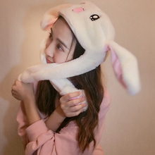 Rabbit Ear Hat Can Move Airbag Magnet Cap Plush Toy Gifts KH889