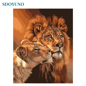 DRAWCOLOR Frame DIY Painting By Numbers Kits Lions Animals Hand Painted Oil Paint By Numbers Unique Gift For Home Decor 40x50cm online shopping in pakistan with free home delivery