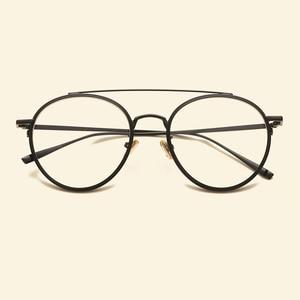 Image 2 - Gafas femeninas marca NOSSA con marco grande Retro marcos de Metal para anteojos para hombre y mujer, montura óptica para miopía, lentes transparentes, gafas casuales para estudiantes