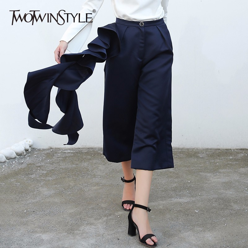 TWOTWINSTYLE Ruffles Wide Leg Pants Female Patchwork High Waist Oversize Calf Length Trousers Spring Fashion OL