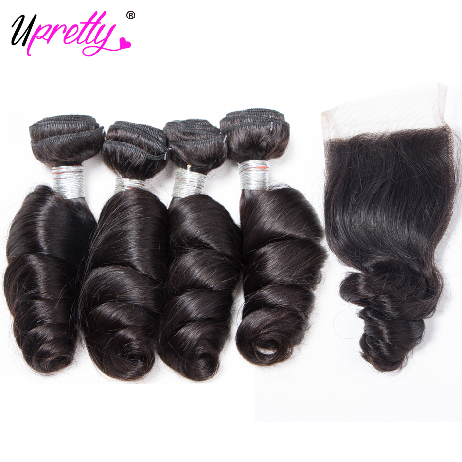 Upretty Hair Peruvian Loose Wave 4 Bundles with 4*4 Closure Remy Human Hair with Closure Spring Loose Curly Hair and Closure