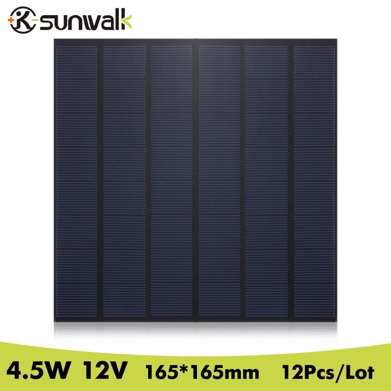 SUNWALK 12PCS 12V Solar Panel Module Polycrystalline 370mAh 4.5W Solar Panel Cell for DIY Test and Solar System 165*165mm