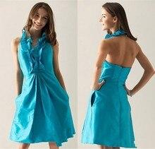 2015 New Design Couture Halter Ruffles And Pocket Bridesmaid Dress Juniors Modest Party Dresses For Junior  Vestido De Festa