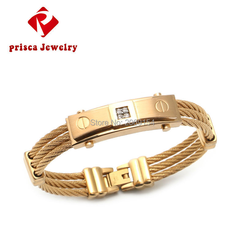 Charm Vintage Bracelet Jewelry Pattern New Gold Bracelet Men Stainless Steel Wire Bracelet Silver Chain Link Trendy Bangle