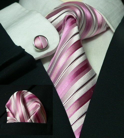 Free shipping pink  neckwear 100% woven silk gentleman neckties+cufflinks+pocket square set LDT031