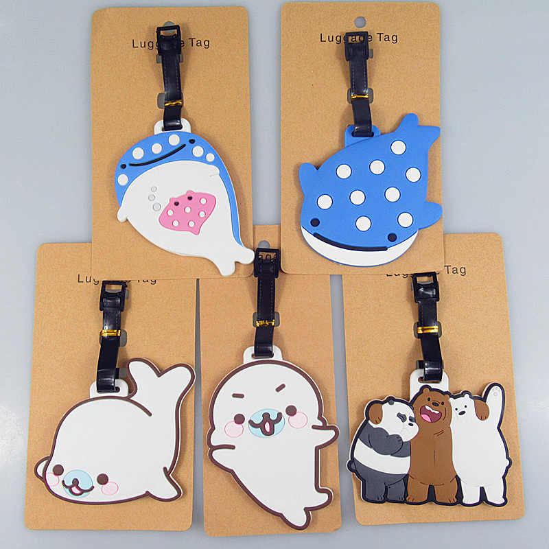Cute Anime We Bare Bears Whale Octopus Blue Whale Luggage Tags Bag Travel Accessories