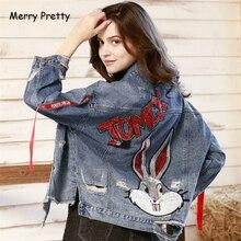 Merry Pretty Women Sequined Appliques Denim Jackets 2019 New Long Sleeve Turndown Collar Pockets Jeans Coats Streewear Outerwear