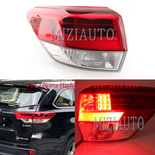 MIZIAUTO 1PCS Tail Lights Outer Side For Toyota Highlander 2017 2018 2019 Warning Light Fog lamp Rear Brake light Lamp