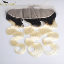 Ross Pretty Remy Brazilian Body Wave hair Pre Plucked 1b 613 Color Ear to 13x4 Frontal Human Hair Ombre blonde lace front