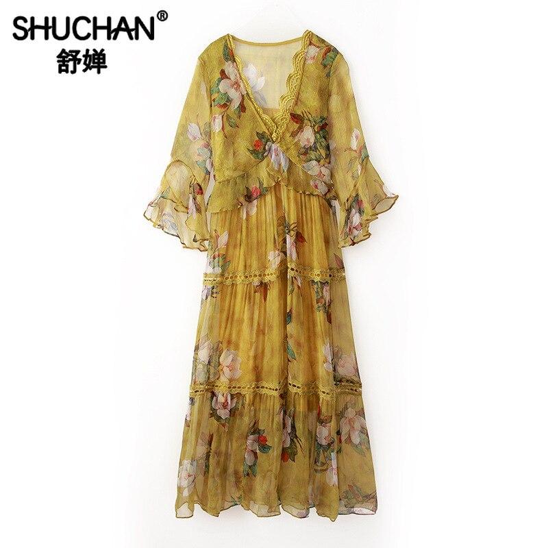 Shuchan robe d'été à fleurs à imprimé jaune avec manches papillon 3/4 robes mi-longues en soie naturelle à col en V profond robes R10833