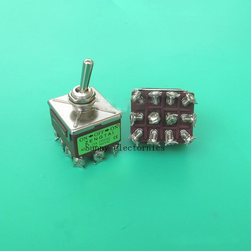 10A/380VAC 15A/250VAC 3 Position 4PDT SUR OFF SUR 12 Broches Interrupteur À Bascule