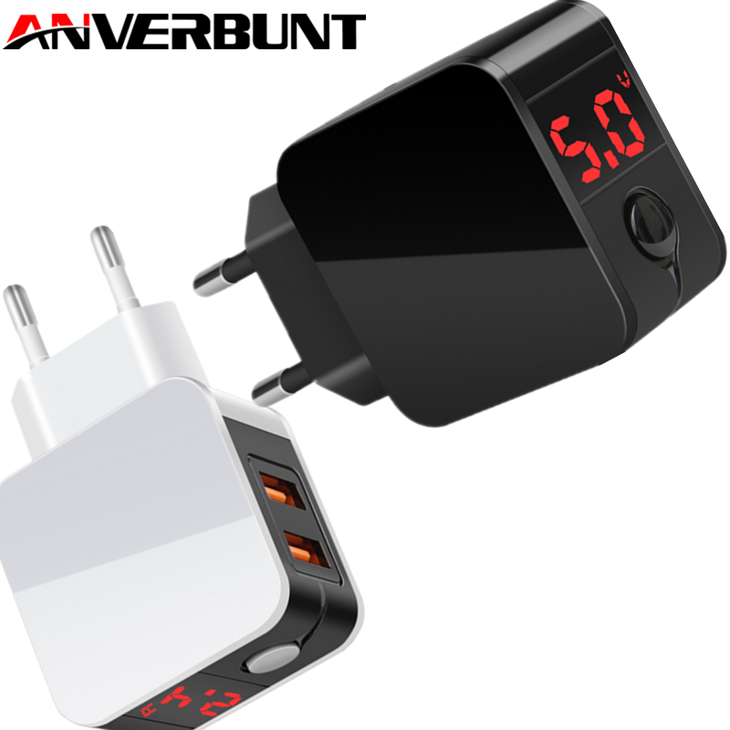 2 Port USB Charger LED Display EU/US Plug The Max 2.4A Smart