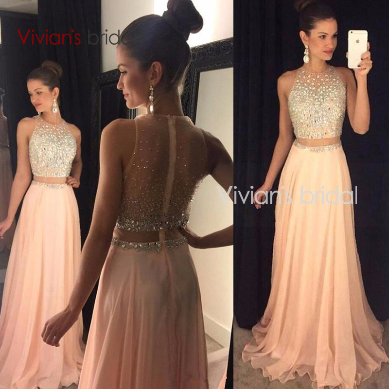 Gorgeous Beadings Sleeveless Long A Line Two Pieces font b Prom b font font b Dress