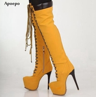 New Newest Over the Knee Boots for Woman 2018 Suede High Heel Boots Lace up Motorcycle Boots Sexy Platform Long Boots