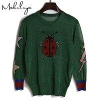 Beetle Butterfly Wzór Żakardowe Makuluya Kobiety Mody Cienki Sweter lady Jasne Drutu Knitting Topy Swetry Babie lato QW