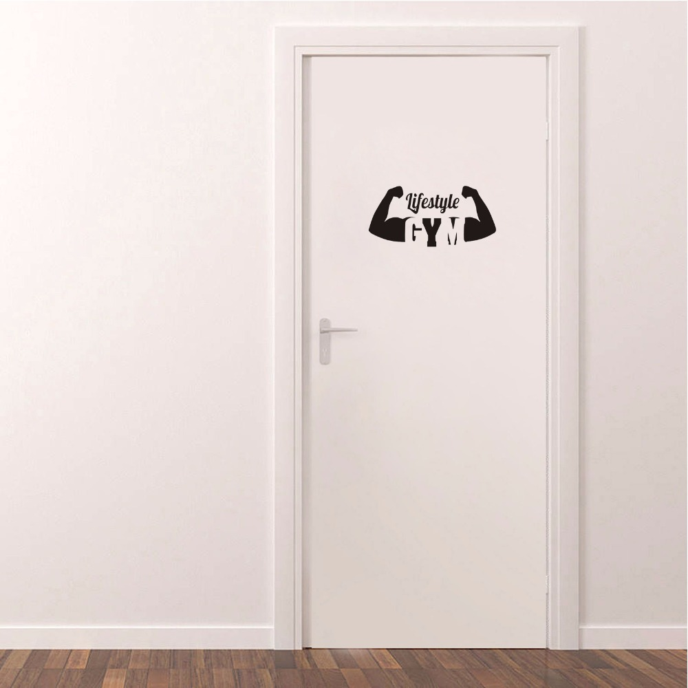 Art Mural Sport Lifestyle Vinyl Door Sticker Brawny Arms Quote Home Decoration Wall Stickers For Gum A2318